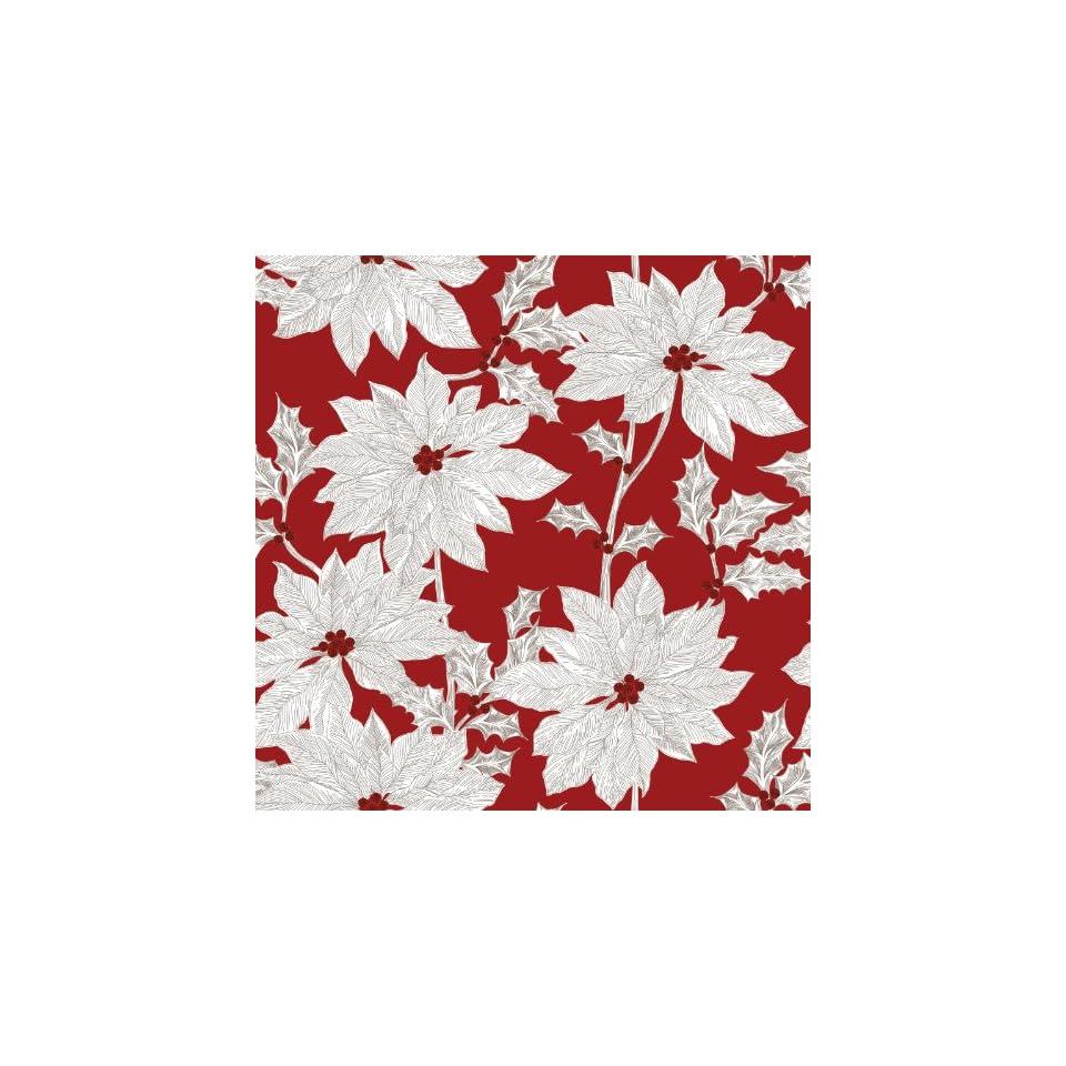 Jillson Roberts Full Ream Christmas Gift Wrap, White Poinsettia, 833 Feet x 30 Inch (XB696)