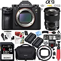Sony Alpha a9 Mirrorless Camera with Sigma 50mm ART Lens and Mount Converter Kit