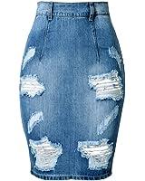 SaiDeng Gonna Di Jeans Azzurro Blu Gonna Di Jeans Donna Femminile Strappato Denim