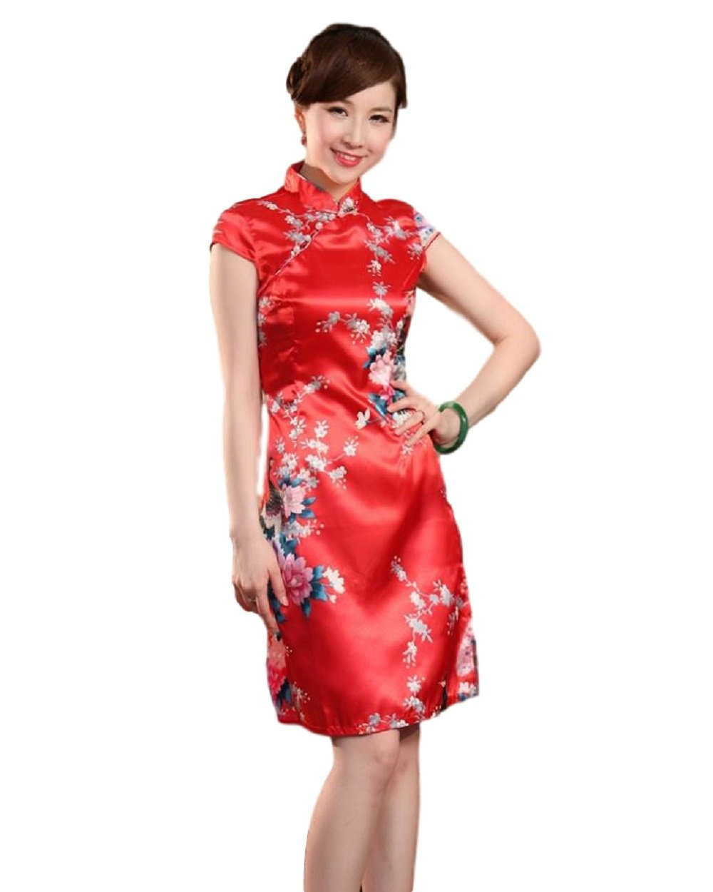 Women's Mini Chinese Dress Cheongsam [Red/Blue/Pink] Mandarin Gown Qipao China Dress