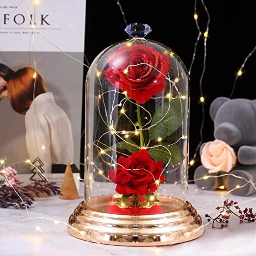 Enchanted Rose Red Silk Rose in Glass Dome Shirylzee Beauty and The Beast Rose