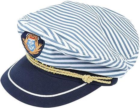 Amosfun capitanes yate Marineros Sombrero Azul a Rayas capitán ...