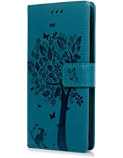 Huawei P20 Pro Case, Premium PU Leather Flip Notebook Wallet Case Cat Butterfly Embossed with Kickstand Credit Card Slot Holder TPU Bumper Folio Protective Cover for Huawei P20 Pro / P20 Plus Blue