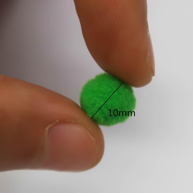TOAOB 1100 St/ück Pompons 10mm Pompom zum Basteln Bunte Filzkugeln Packung mit