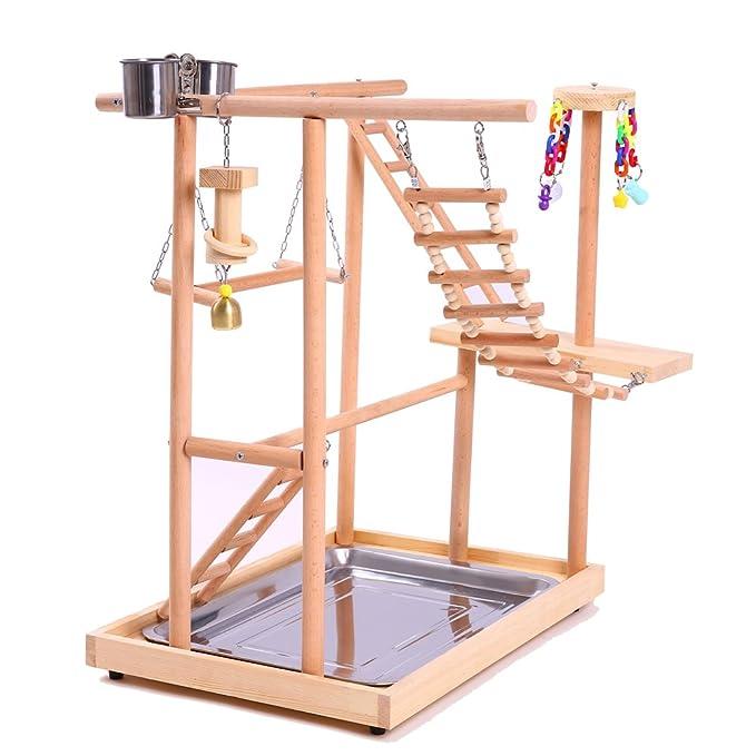 Amazon.com: QBLEEV - Soporte de madera para pájaros: Mascotas