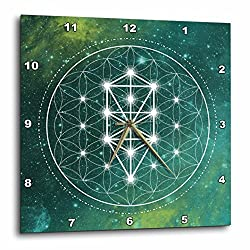 3D Rose Circle and Triangles Sacred Geometry Galaxy Wall Clock, 13 x 13, Green