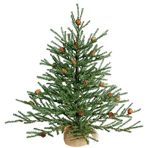 (Vickerman Unlit Carmel Pine Artificial Christmas Tree Artificial Pine Cones Comes in Burlap Base, 24