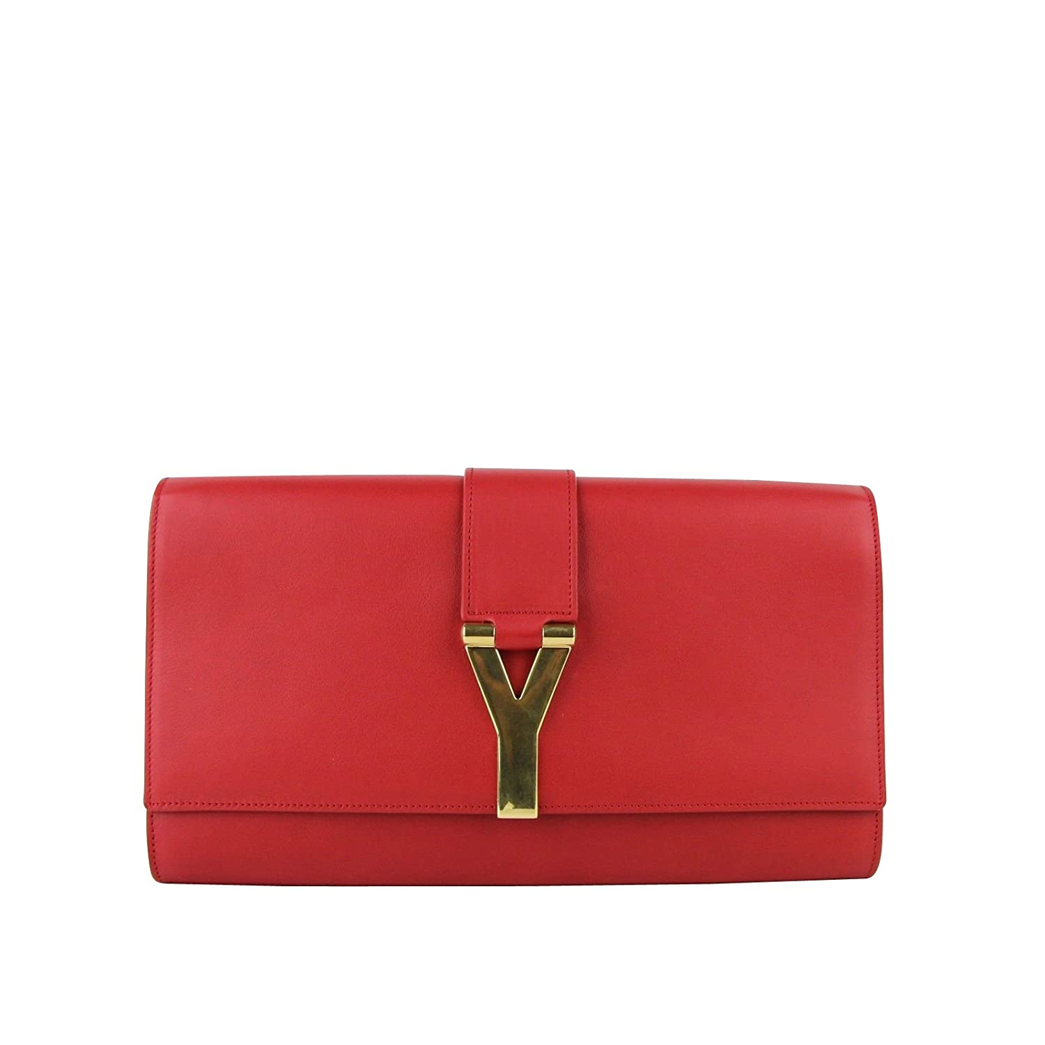 6fe41606 YSL Saint Laurent Classic Y Red Leather Paris Clutch 311213 6416 ...