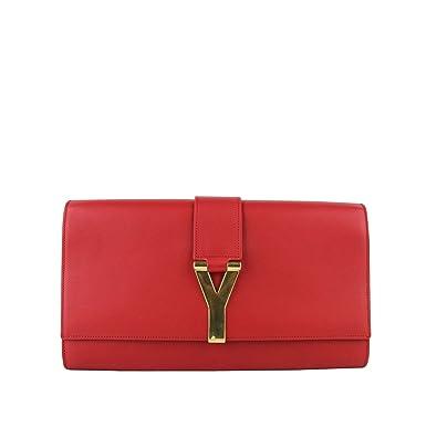 hottest sale buy sale Buy Authentic YSL Saint Laurent Classic Y Red Leather Paris Clutch 311213 ...