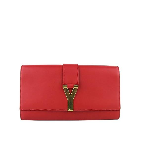 bd487abd281 YSL Saint Laurent Classic Y Red Leather Paris Clutch 311213 6416: Handbags:  Amazon.com