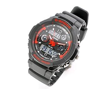 DSstyles Reloj para hombre 3ATM Reloj digital resistente al agua Reloj despertador deportivo Cuarzo Reloj de pulsera Cronómetro - Rojo: Amazon.es: Deportes ...