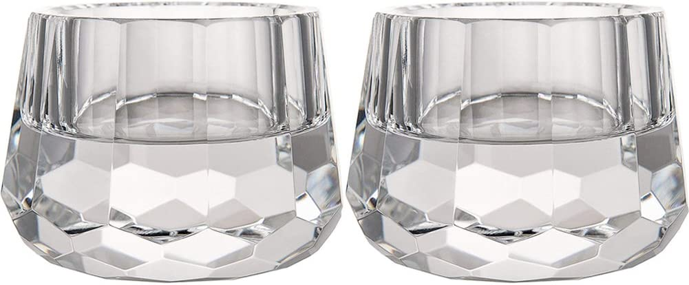 """DONOUCLS Crystal Votive Tealight Holders Christmas Decorations for Home 2.5"""" Diameter x 1.8"""" High Pack of 2"""
