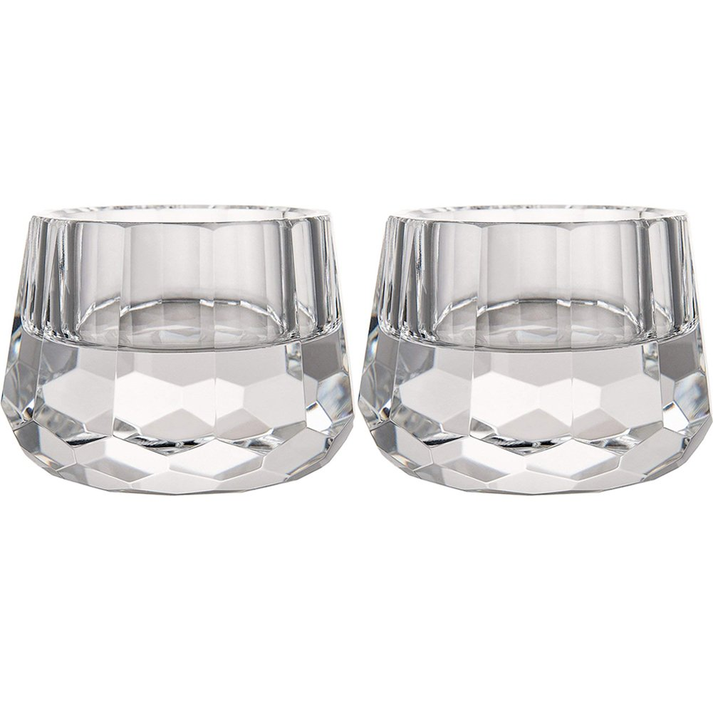 DONOUCLS Crystal Votive Tealight Holders Christmas Decorations for Home 2.5'' Diameter x 1.8'' High Pack of 2