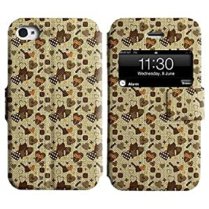 Be-Star Colorful Printed Design Slim PU Leather View Window Stand Flip Cover Case For Apple iPhone 4 / 4S ( Dark Heart ) Kimberly Kurzendoerfer
