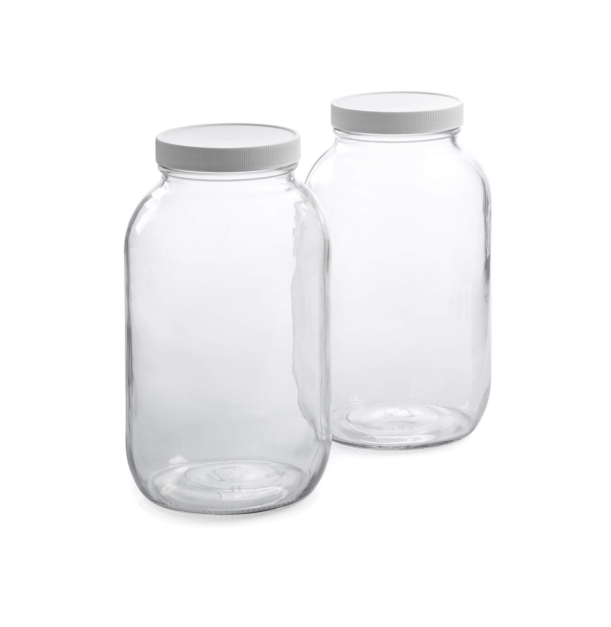 1790 Half Gallon Glass Jars (64oz) 2-Pack - Includes 2 Airtight Lids, Muslin Cloths, Rubber Bands - BPA Free, Dishwasher & Freezer Safe - Perfect for Kombucha, Kefir, Canning, Sun Tea, Fermentation