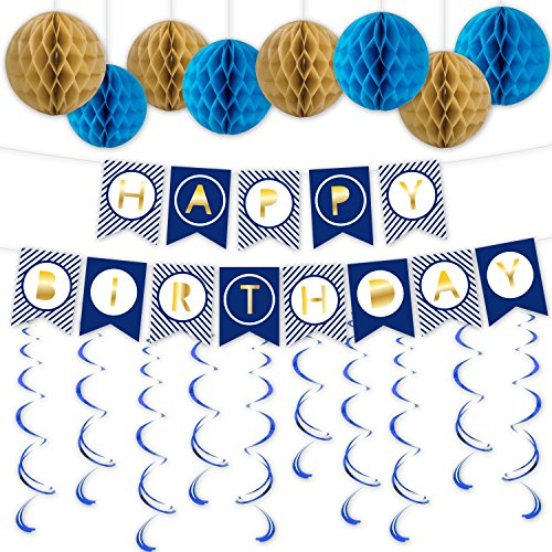 Happy Birthday Banner with Brown & Blue Honeycomb Balls and Blue Swirl for Birthday Party Supplies by Lucky Party