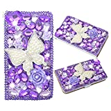 Samsung Galaxy S8 Case, Spritech PU Leather Wallet Phone Case 3D Handmade Bling Design Flower Butterfly Decorated Folding Protected Smartphone Cover with Card Slots for (2017) Samsung Galaxy S8