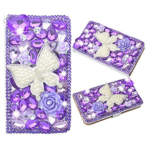 Spritech(TM) PU Leather Bling Phone Case For ZTE ZMAX Z970,Handmade Purple Crystal White Butterfly Accessary Design Cellphone Cover With Card Slots