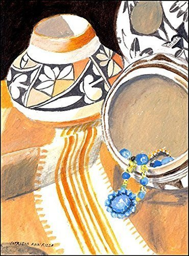 Original Acrylic Art - Indian Pottery, Indian Jewelry by Pat