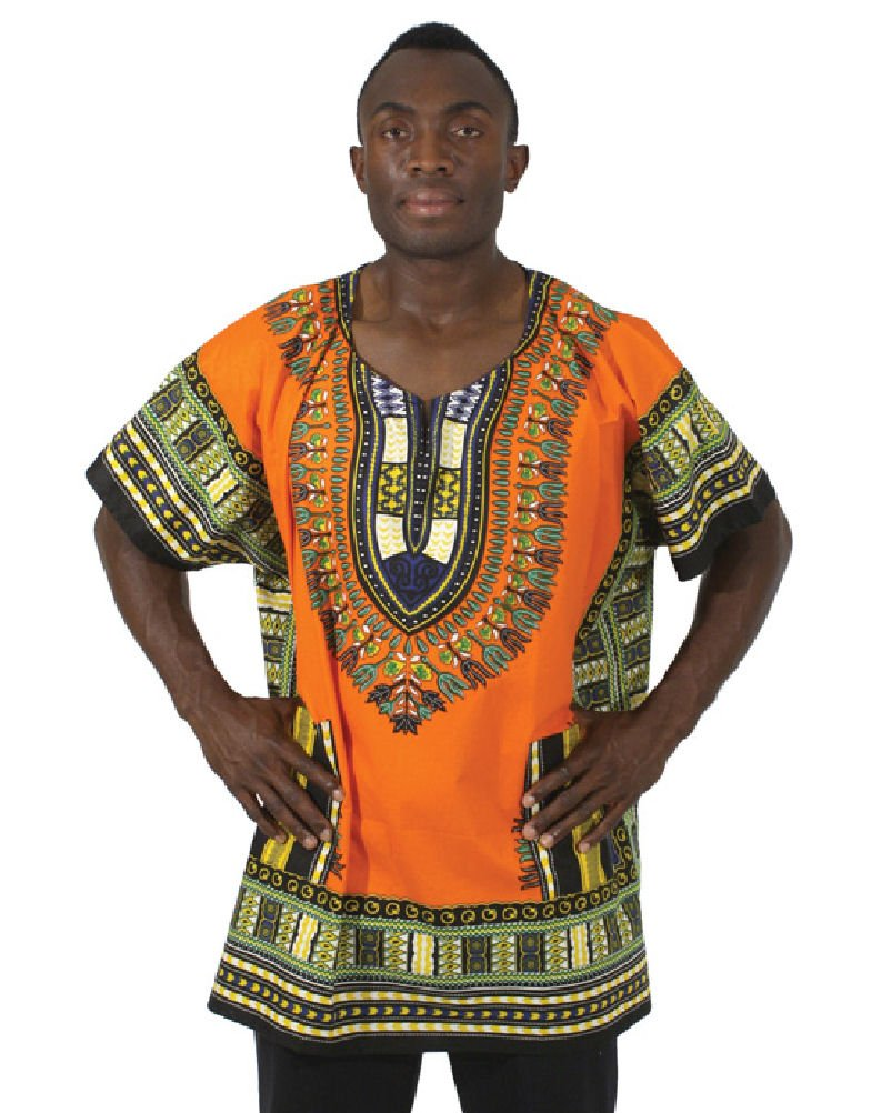 King-Sized Traditional Print Unisex Dashiki Top - Up to 68'' Chest - Available in Several Colors, 3X, Orange
