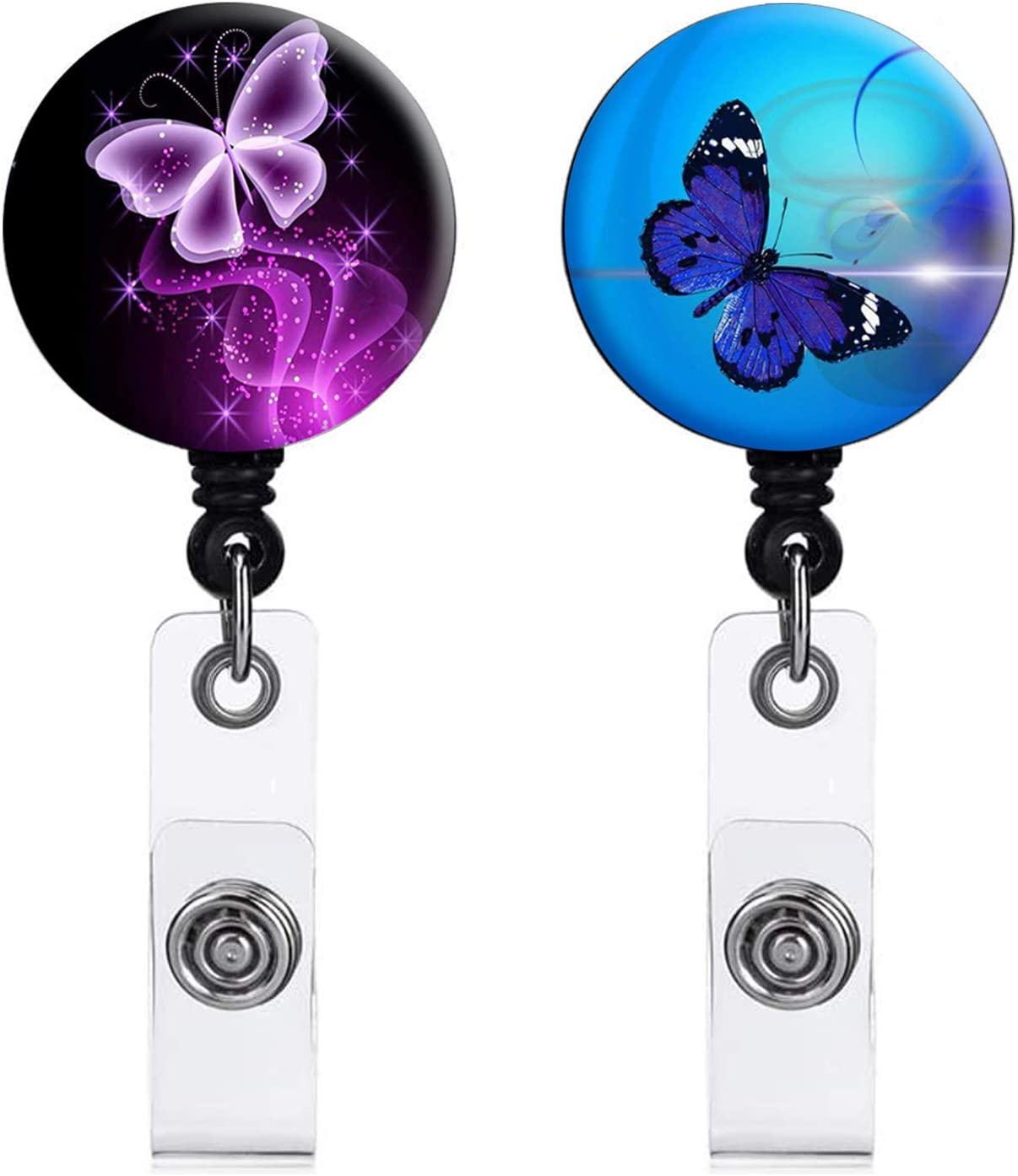 RN Registered Nurse Set #2 Sparkle Starburst pick reel style Butterflies ~ 4 pc Exchangeable System for Retractable Reel ID Badge Holder