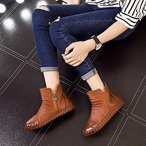 Women's New Round Boots BERTERI Leather Shoes Camel Head Casual Handmade d5vWaq