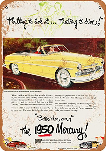 Wall-Color 10 x 14 Metal Sign - 1950 Mercury Convertibles - Vintage Look