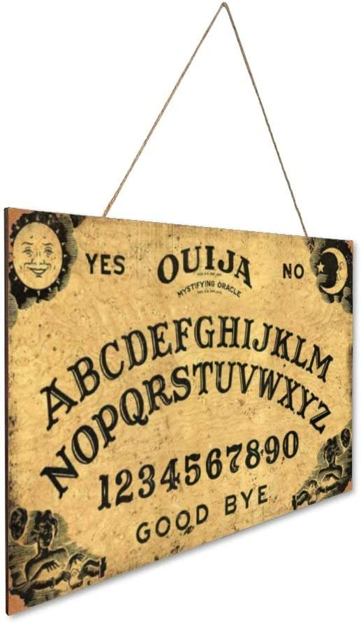 TIANREN Ouija Board Brown Wood Plaque Wooden Wall Sign Home Decoration Rustic Vintage Family Art Welcome Picture Poster décor bar café Bedroom Hotel