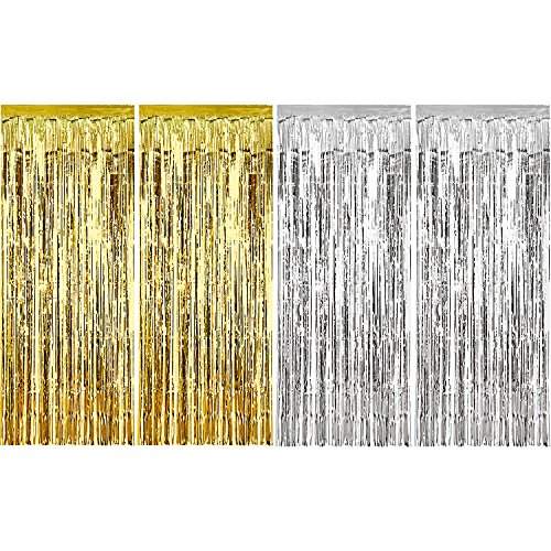 Sumind 4 Pack Foil Curtains Metallic Fringe Curtains Shimmer Curtain for Birthday Wedding Party Christmas Decorations (Silver and -