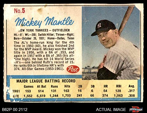 1962 Mickey Mantle (1962 Post # 5 AD Mickey Mantle New York Yankees (Baseball Card) (Has Post Advertisement on Back) Dean's Cards 1.5 - FAIR Yankees)