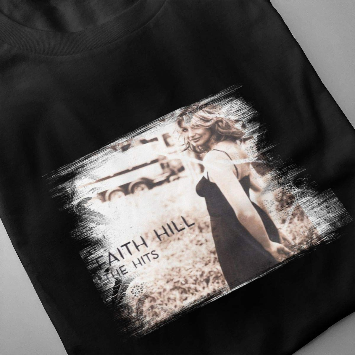 Linqarcon Mens Design with Faith Hill The Hitss Work Round Neck Short Sleeve Tee