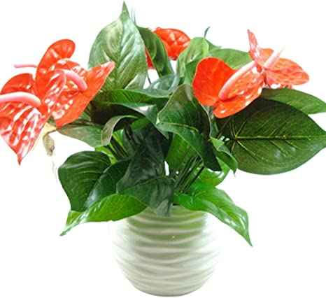 Zzjiaczs 3 Heads 9 Leaves Artificial Anthurium Flower 1pc Faux Plant Home Office Garden Decor Home Kitchen