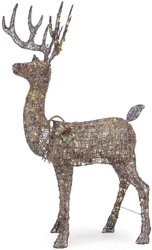 Home Accents 5.5 ft Meadow Frost Animated LED Brown Deer