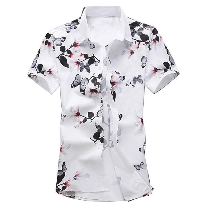 4e34df2ab LHXWY Camisa Hawaiana De Manga Corta Colorido Flor Grande Verano Moda  Camiseta Camiseta Fiesta Impresión Elegante 3D Estilo Chino  Amazon.es   Ropa y ...