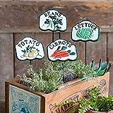 Cast Iron Vegetable Patch Garden Stakes (Potato, Beans, Lettuce, Carrots)
