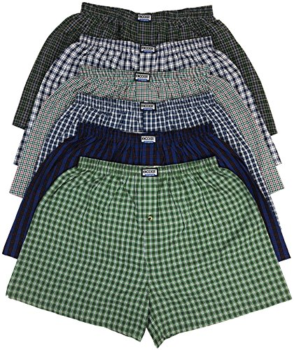ToBeInStyle Men's Pack of 6 Button Fly Classic Fit Tartan Plaid Boxers (2XL, 6-Pack - Assorted Colors) (Plaid Boxer Mens Classic)