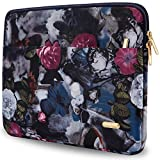 Aestee 13-13.3 Canvas Fabric Water-resistant Laptops Sleeve Case for New MacBook Pro 2016 13.3-inch & Macbook Air 13 Inch Retina Display & Up to 13.3 Inch Laptop Protective Bag, Vintage Flower