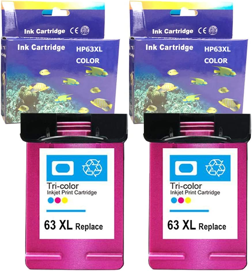 Color, 2 Pack ZET Remanufactured Ink Cartridge Replacement for HP 63XL Used for HP Officejet 3830 3833 4650 Deskjet 1112 2132 3630 Envy 4520 4516 4511 4512 Printer