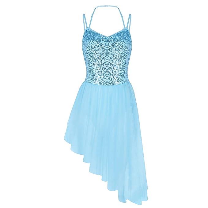 IEFIEL Vestido de Danza para Mujer Maillot Ballet con Tutú Falda para Gimnasia Mujer Vestido con Lentejuelas Chica S-XXL