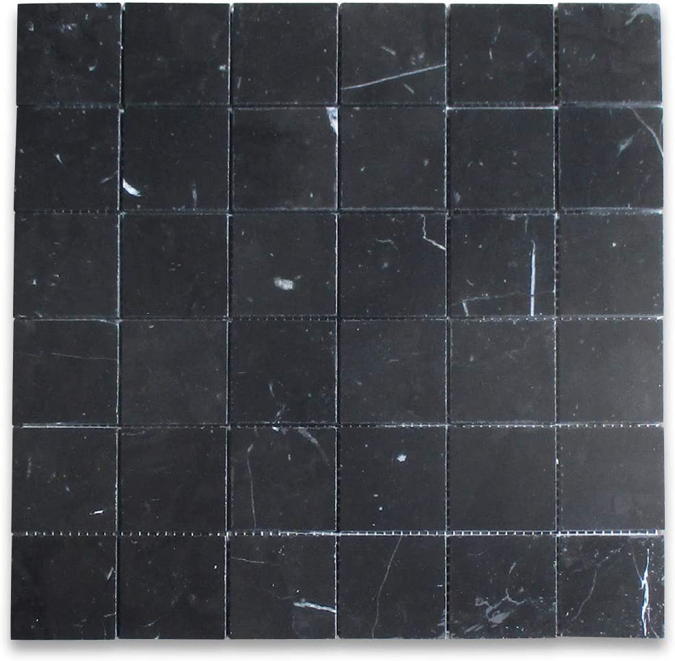 Stone Center Online Nero Marquina Black Marble Square Mosaic Tile 2 X2 Honed Bathroom Kitchen Wall Floor Tile Amazon Com
