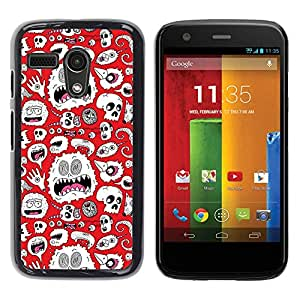 Design for Girls Plastic Cover Case FOR Motorola Moto G 1 1ST Gen Alien Monster White Wallpaper Art Skulls OBBA