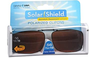 3532e26f1d Image Unavailable. Image not available for. Color  Solar Shield Polarized  Clip-on Sunglasses 56 Rec 19 Gray Lenses Fits Full Frame