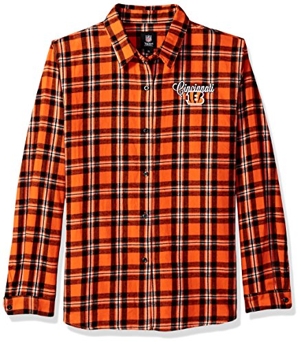 Cincinnati Bengals 2016 Wordmark Basic Flannel Shirt - Womens Extra Large by Forever Collectibles