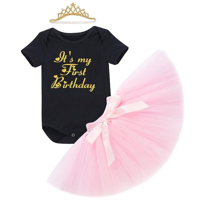 Obeeii Baby Mädchen 1. Geburtstag Outfit Neugeborenen Prinzessin ...