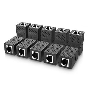 UGREEN RJ45 Coupler 10 Pack in Line Coupler Cat7 Cat6 Cat5e Ethernet Cable Extender Adapter Female to Female (Black)