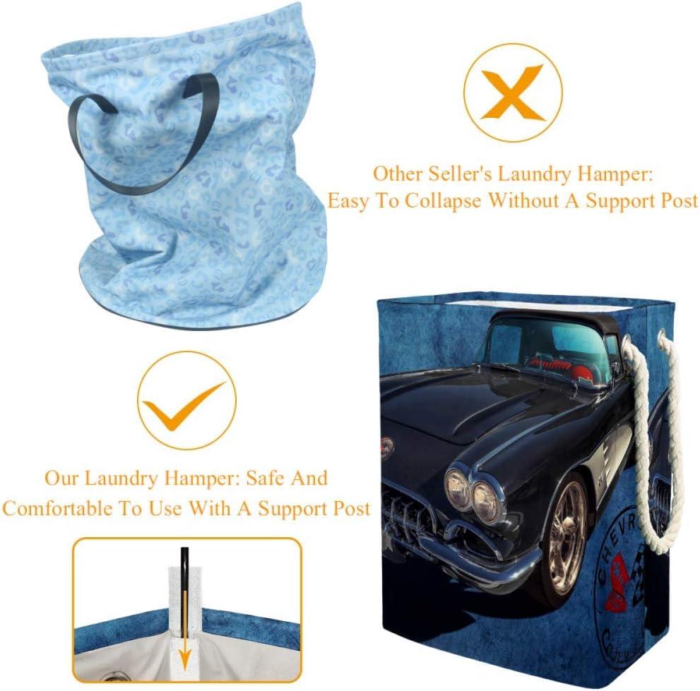 Indimization Voiture décapotable Vintage Sac à Linge Rectangle en Tissu Oxford avec poignées Panier de Rangement Haute capacité 49x30x40.5 cm Color5
