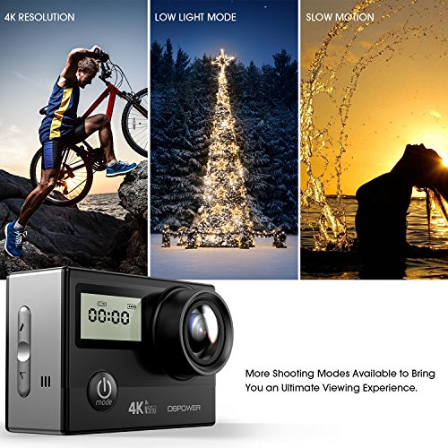 61mSvUe5 jL - DBPOWER N5 Pro WiFi Action Camera 4K Ultra HD 20MP Sports Camera 30m Underwater Waterproof 170 Degree Adjustable Wide Angle Lens Camcorder with 2 Rechargeable Batteries and Mounting Accessories Kit