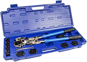 """IWISS iCrimp Plumbing Pressing Tool Kit Works for Zoomlock Refrigerant and HVAC Fittings and Copper Tubes with 1/4"""" 5/16"""" 3/8"""" 1/2"""" 5/8"""" 3/4"""" 7/8"""" Jaws"""