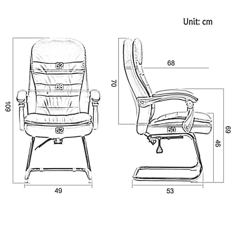 XKKD stol Recline dubbla lager hög rygg PU-läder stoppning skrivbordsstol 145 ° lounge stol bärvikt 150 kg (färg: svart) Svart