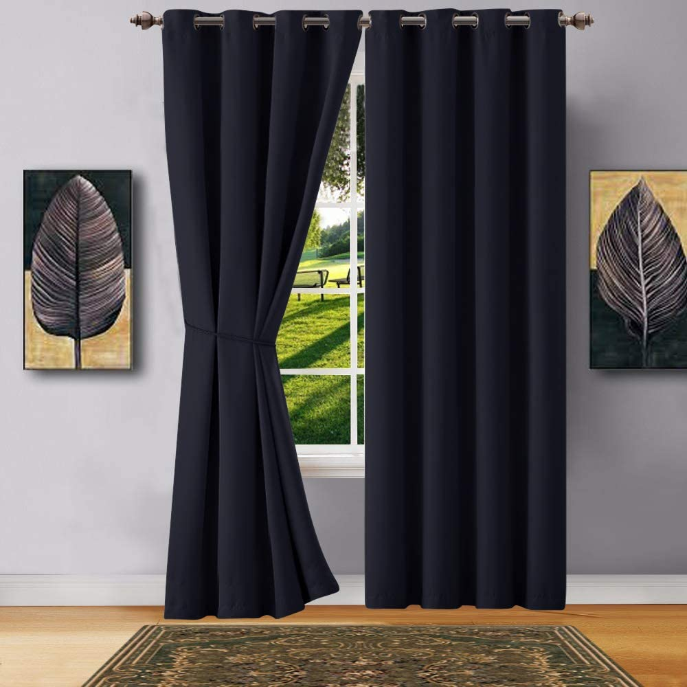 "WARM HOME DESIGNS 1 Panel of Black Color Blackout Curtains with Grommets. Extra Long Size Insulated Thermal Window Panel is 54"" X 108"" in Length and Includes Matching Tie-Back. N Black 54x108"